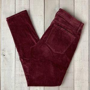 Loft Curvy Skinny wine colored corduroy pants